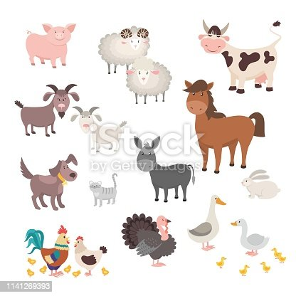 Farm Animals set. Isolated homes animal pig chicken horse dog turkey rabbit cat. Flat cute silhouette animal barnyard. Vector illustration