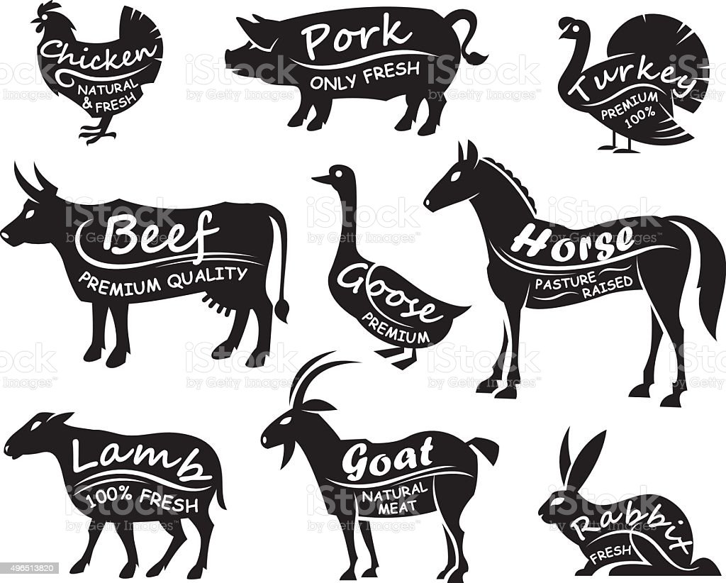 farm animals set vector art illustration