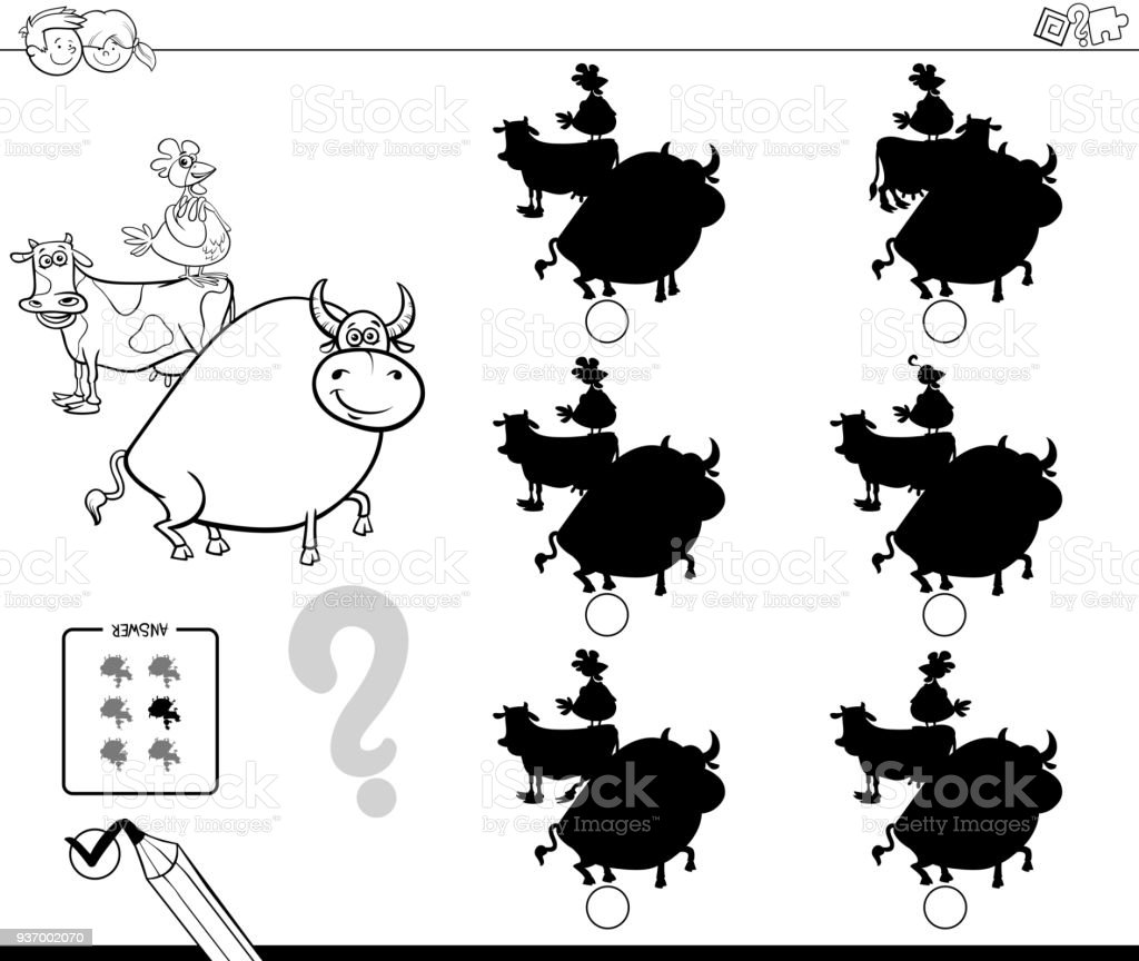 çiftlik Hayvanları Gölgeler Oyun Boyama Kitabı Stok Vektör Sanatı