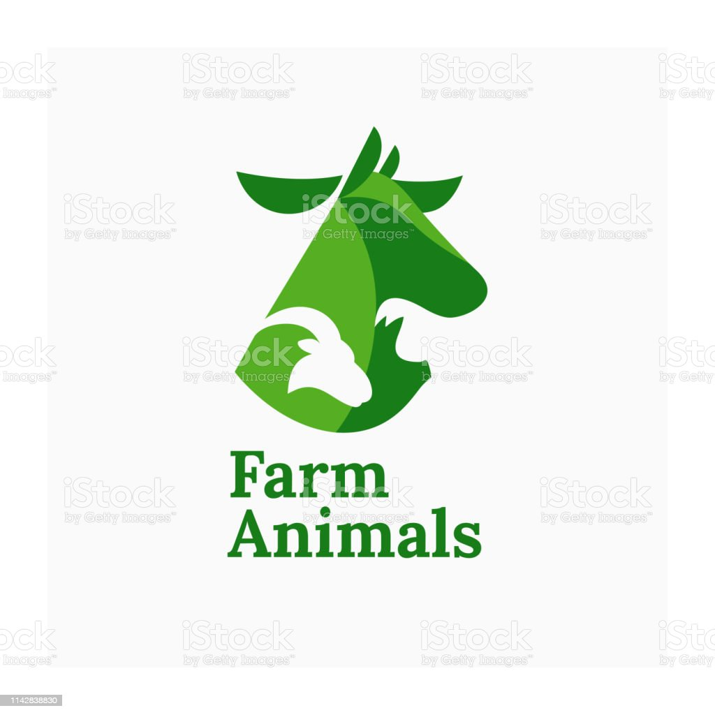 Illustration of cow, pig and ram for agricultural company or farm