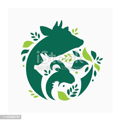 Vector illustration with cow, pig, goat and chicken. Livestock pattern with farm animals and leaves. Green logo for ranch