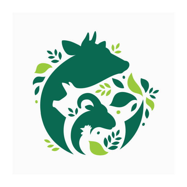 Farm animals sign Vector illustration with cow, pig, goat and chicken. Livestock pattern with farm animals and leaves. Green logo for ranch poultry stock illustrations