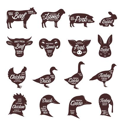 Farm animals silhouettes collection. Butcher shop labels.