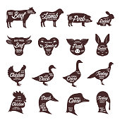 Set of vector butcher shop labels. Farm animal silhouettes and faces collection for groceries, meat stores, butcheries, packaging and advertising.