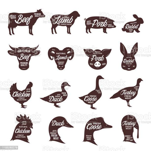 Farm animals silhouettes collection butcher shop labels vector id1153280279?b=1&k=6&m=1153280279&s=612x612&h=tzsl7ouqc2k7riuemxrmdthlb kjc3rbxejykpogbze=