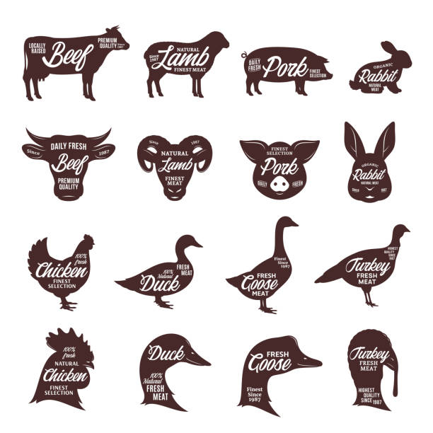 Farm animals silhouettes collection. Butcher shop labels. Set of vector butcher shop labels. Farm animal silhouettes and faces collection for groceries, meat stores, butcheries, packaging and advertising. farm animals stock illustrations