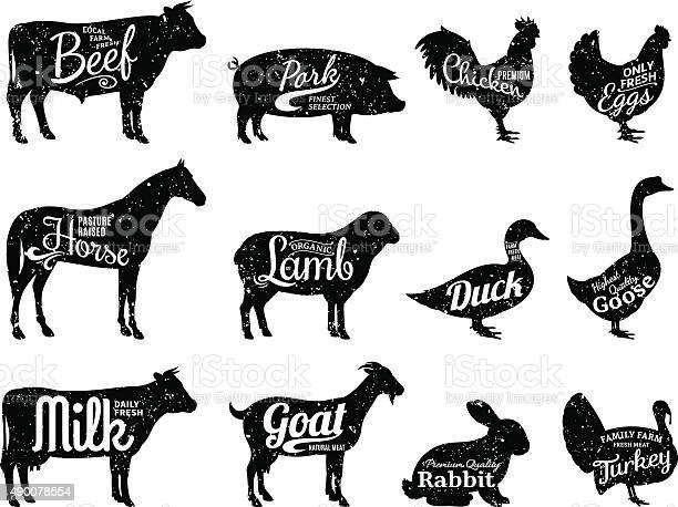 Farm animals silhouettes collection butchery labels templates vector id490078554?b=1&k=6&m=490078554&s=612x612&h= fdhtpbcmrnkuvuk1vs14n nhftebu1q08gjezpnwti=