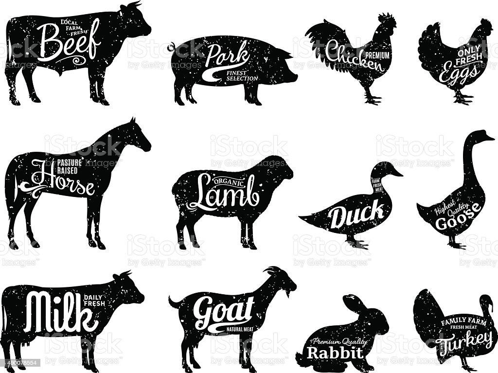 Animaux de la ferme silhouette Collection, pièces de viande étiquettes des modèles - Illustration vectorielle