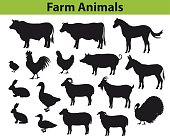 Farm animals silhouettes collection with cow, bull, horse, hen, chicken, rooster, pig, goat, sheeps, ducks, turkey, rabbits, donkey and goose