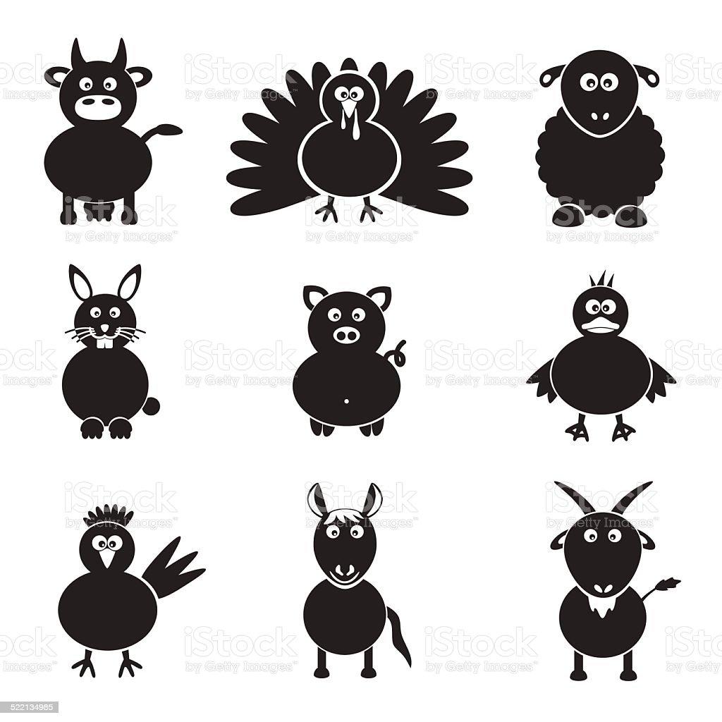 farm animals simple icons set eps10 vector art illustration