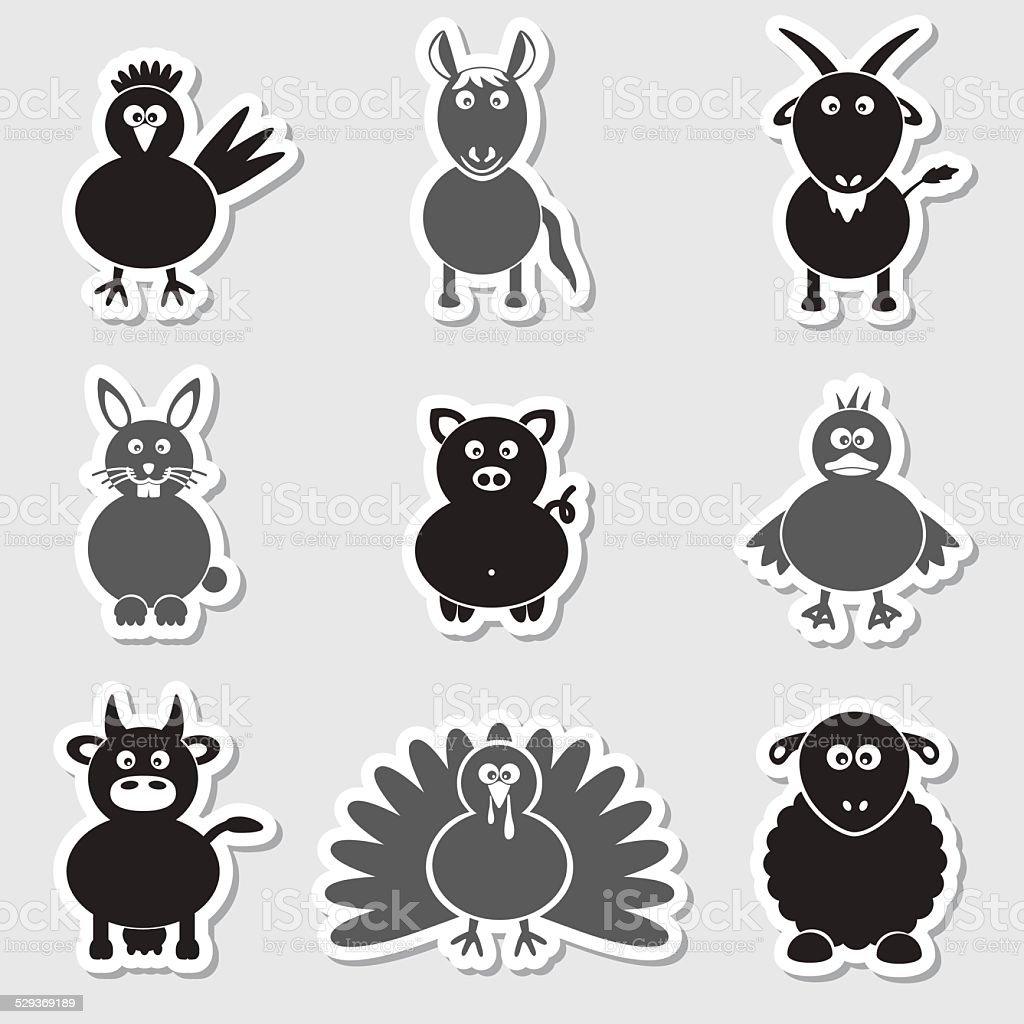 ファーム動物シンプルなステッカーセット eps 10 のイラスト素材