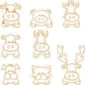 Sketched farm animals - gradient free and esy to change colour.
