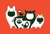 vector illustration of group of farm animals symbol