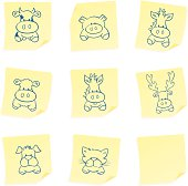 Sketched farm animals on sticky postits.