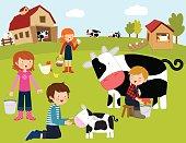 Children enjoying working in the farm
