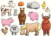 set of animals from a common farm - each animal is on separate layer
