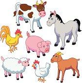 Vector illustrations of farm animals.