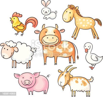 A set of cartoon farm animals, no gradients.