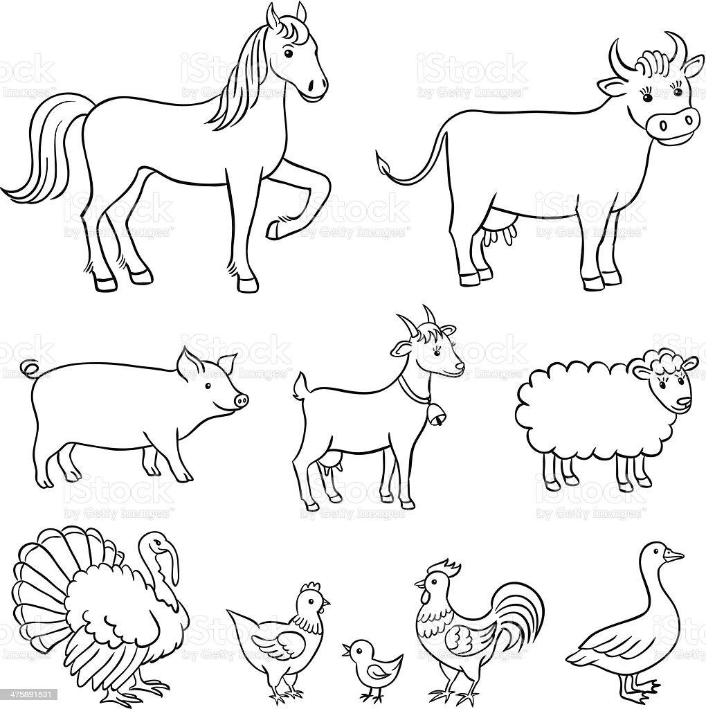 Animali della fattoria immagini vettoriali stock e altre - Animale domestico da colorare pagine gratis ...