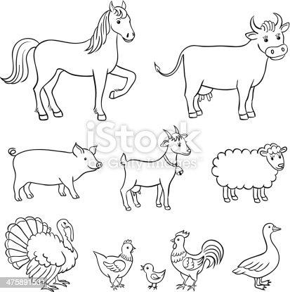 Animali della fattoria immagini vettoriali stock e altre for Fattoria immagini da colorare