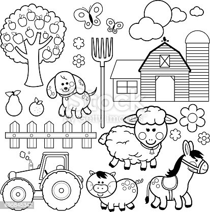 Farm Animals Vector Illustration Collection Black And White Coloring