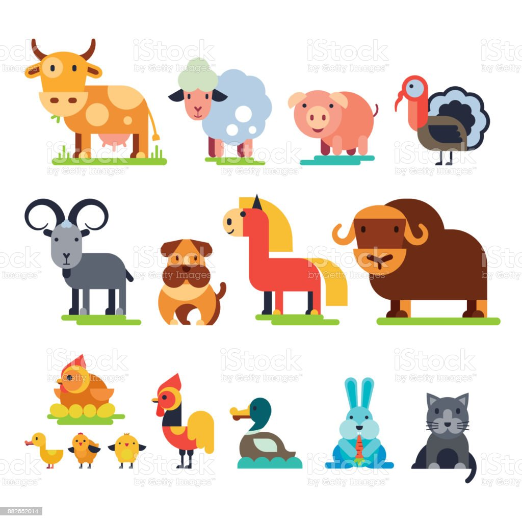 Farm animals vector set domestic farming characters cow and sheep, pig, turkey, dog, horse and cat farmer animals illustration isolated on white background vector art illustration