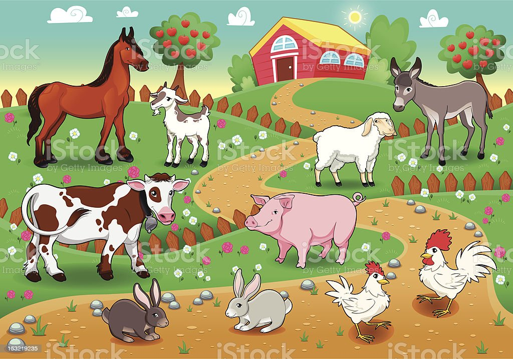 Farm animals with background. royalty-free stock vector art