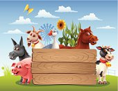 Farm Animals with Banner. High Resolution JPG,CS5 AI and Illustrator EPS 8 included. Each element is named,grouped and layered separately.