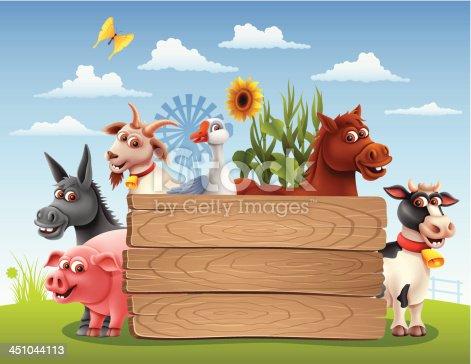 istock Farm Animals with Banner 451044113