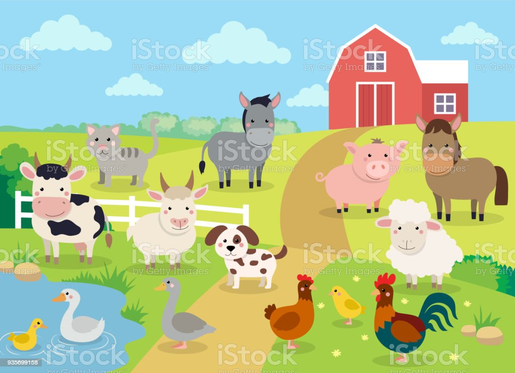 Farm animals with landscape - cute cartoon vector illustration with farm, cow, pig, horse, goat, sheep, ducks, hen, chicken and rooster vector art illustration