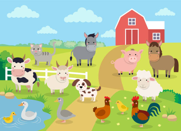 farm animals with landscape - cute cartoon vector illustration with farm, cow, pig, horse, goat, sheep, ducks, hen, chicken and rooster - baby animals stock illustrations