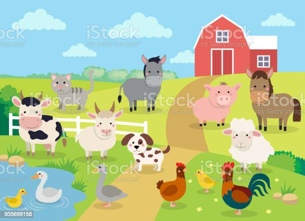 Farm Animals With Landscape Cute Cartoon Vector Illustration With Farm Cow Pig Horse Goat Sheep Ducks Hen Chicken And Rooster Stock Illustration - Download Image Now