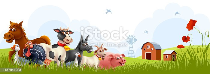 Farm animals with landscape