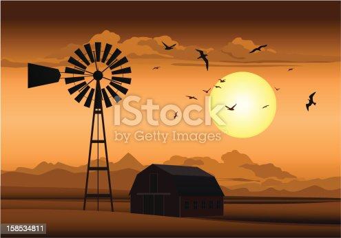 istock Farm at Night 158534811