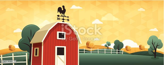 Beautiful farm background with space for copy. EPS 10 file. Transparency effects used on highlight elements.
