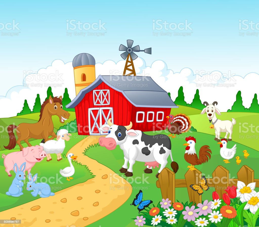 Farm background with animals vector art illustration