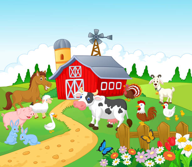 illustrations, cliparts, dessins animés et icônes de fond avec des animaux de la ferme - animaux de la ferme