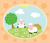 Farm background with sheep