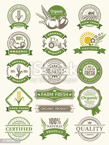 Vector illustration of the organic badges.