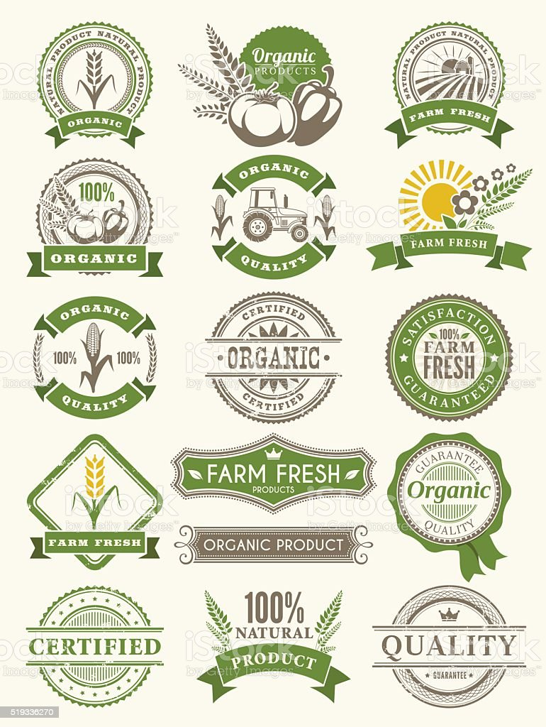 Farm Badges vector art illustration