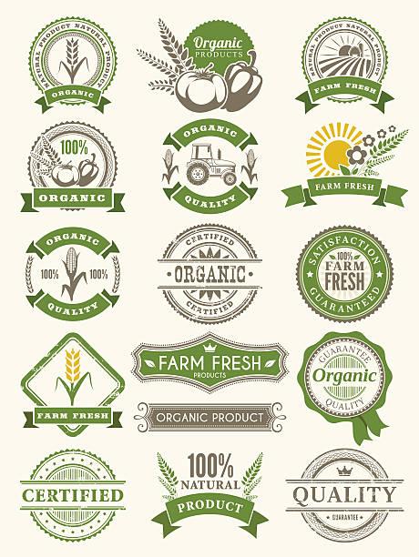 illustrazioni stock, clip art, cartoni animati e icone di tendenza di farm badge - organic food