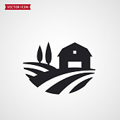 Farm symbol with barn, trees and fields. Farmhouse logo. Rural landscape. Vector icon.