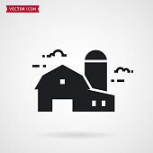 Farm symbol with barn and grain storage. Farmhouse icon. Vector.