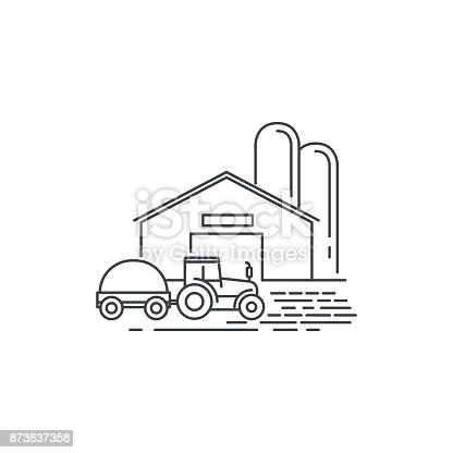 Farm barn and tractor line icon. Outline illustration of horse barn vector linear design isolated on white background. Farm icon template, element for farming design, line icon object