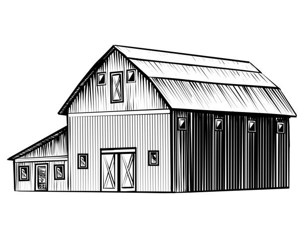 Farm barn isolated on white background hand drawn sketch style illustration vector art illustration