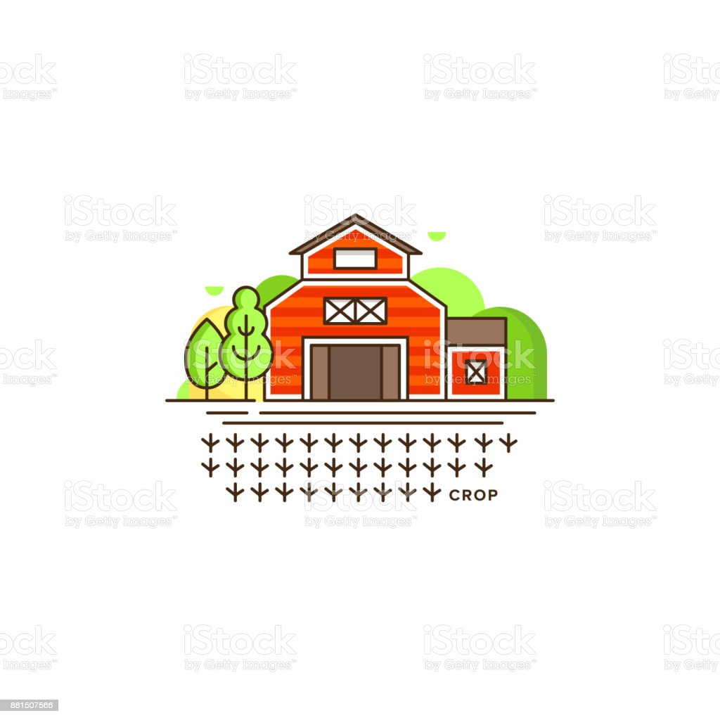 Farm barn line icon with germinating field with sprouts vector illustration isolated on white background. Eco farming icon, logo in flat design, farm concept with a house and landscape, linear style vector art illustration