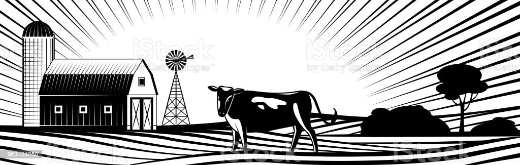 Farm barn with windmill and cow on countryside landscape with hills and fields. vector art illustration