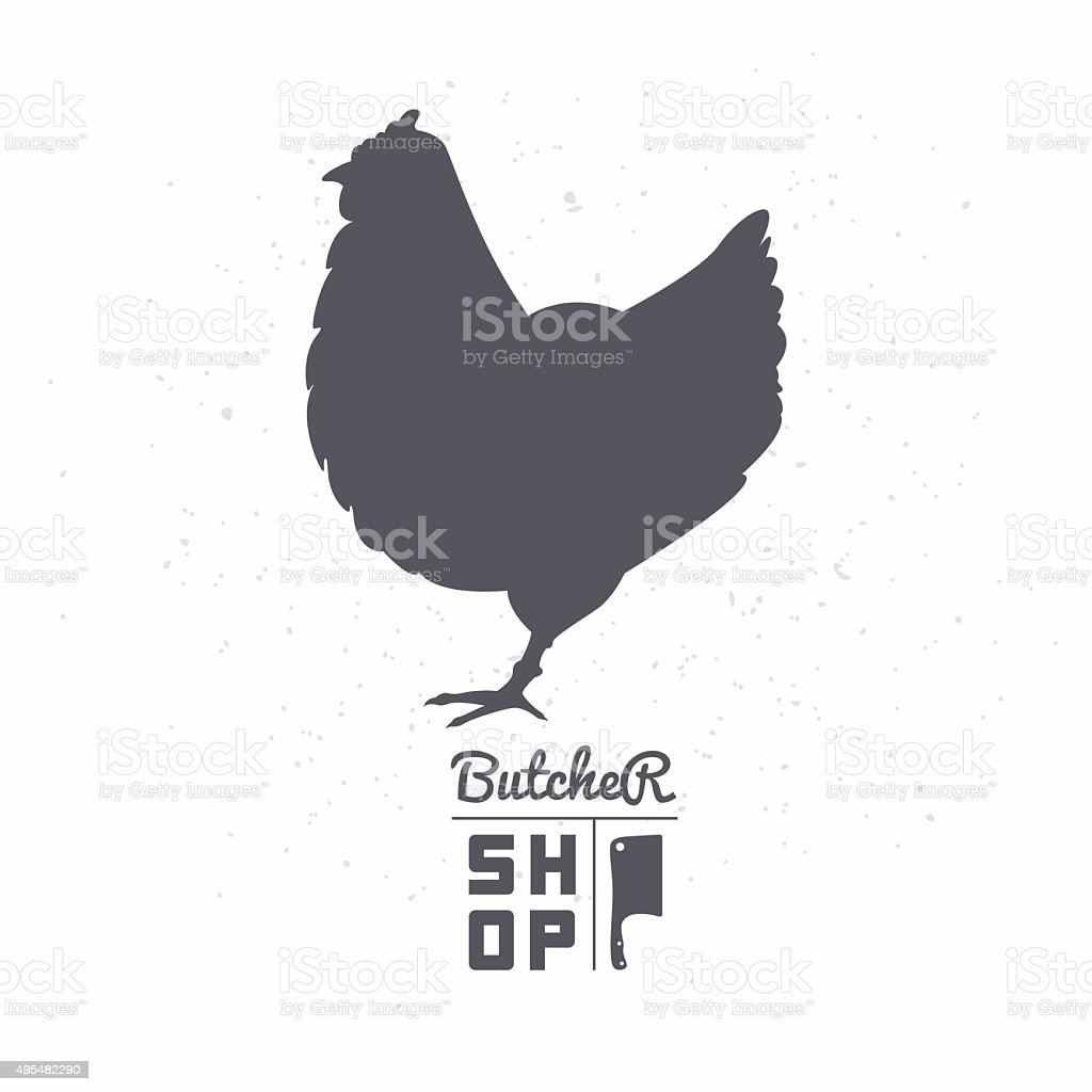 Farm Bird Silhouette Chicken Meat Butcher Shop Template Stock Vector Diagram Symbol Royalty Free