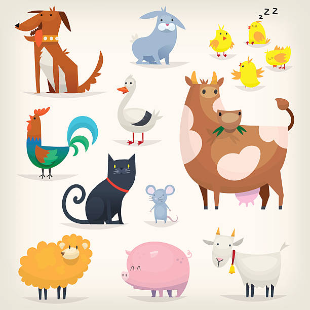 Farm birds and animals vector art illustration