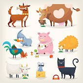 Set of popular colorful vector farm animals and birds eating food